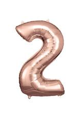 Amscan folieballon rose goud cijfer 2 86 cm