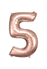 Amscan folieballon rose goud cijfer 5 86 cm