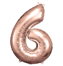 Amscan folieballon rose goud cijfer 6 86 cm