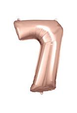 Amscan folieballon rose goud cijfer 7 86 cm