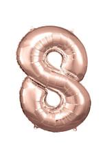 Amscan folieballon rose goud cijfer 8 86 cm