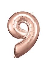 Amscan folieballon rose goud cijfer 9 86 cm