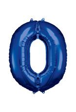 Amscan folieballon blauw cijfer 0 86 cm