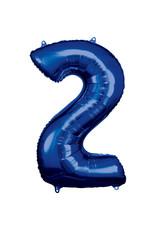 Amscan folieballon blauw cijfer 2 86 cm