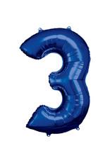 Amscan folieballon blauw cijfer 3 86 cm