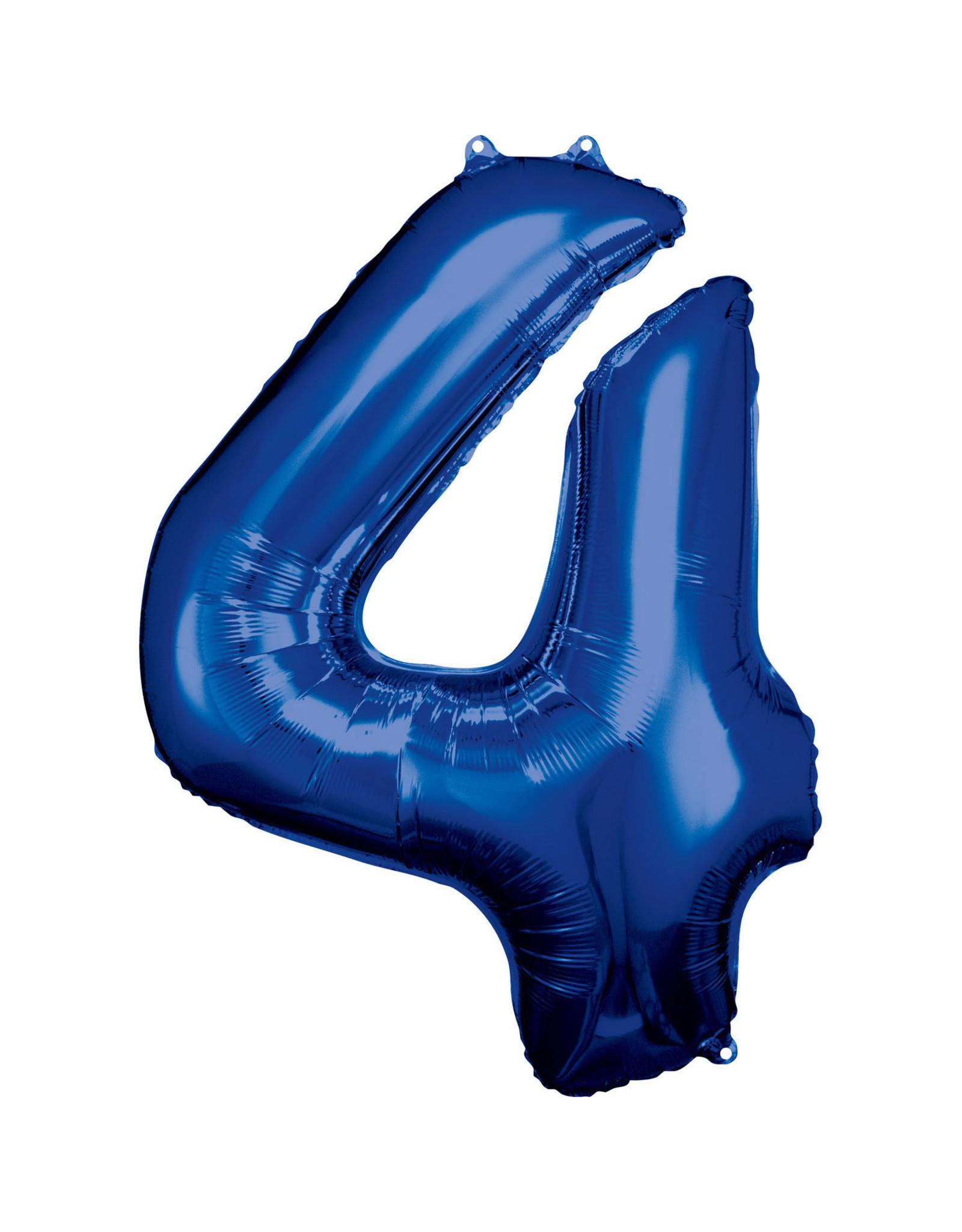 Amscan folieballon blauw cijfer 4 86 cm