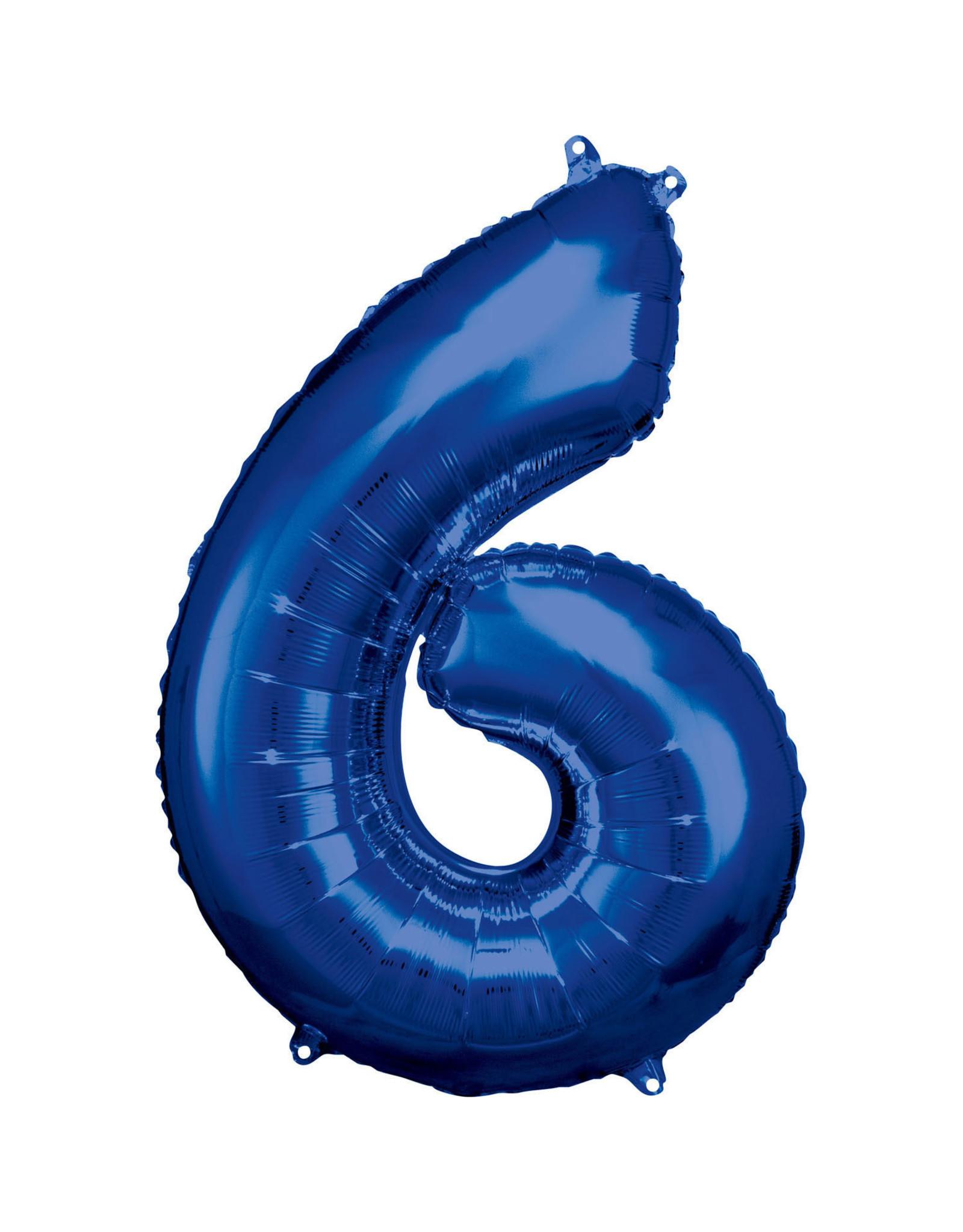 Amscan folieballon blauw cijfer 6 86 cm