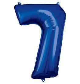 Amscan folieballon blauw cijfer 7 86 cm