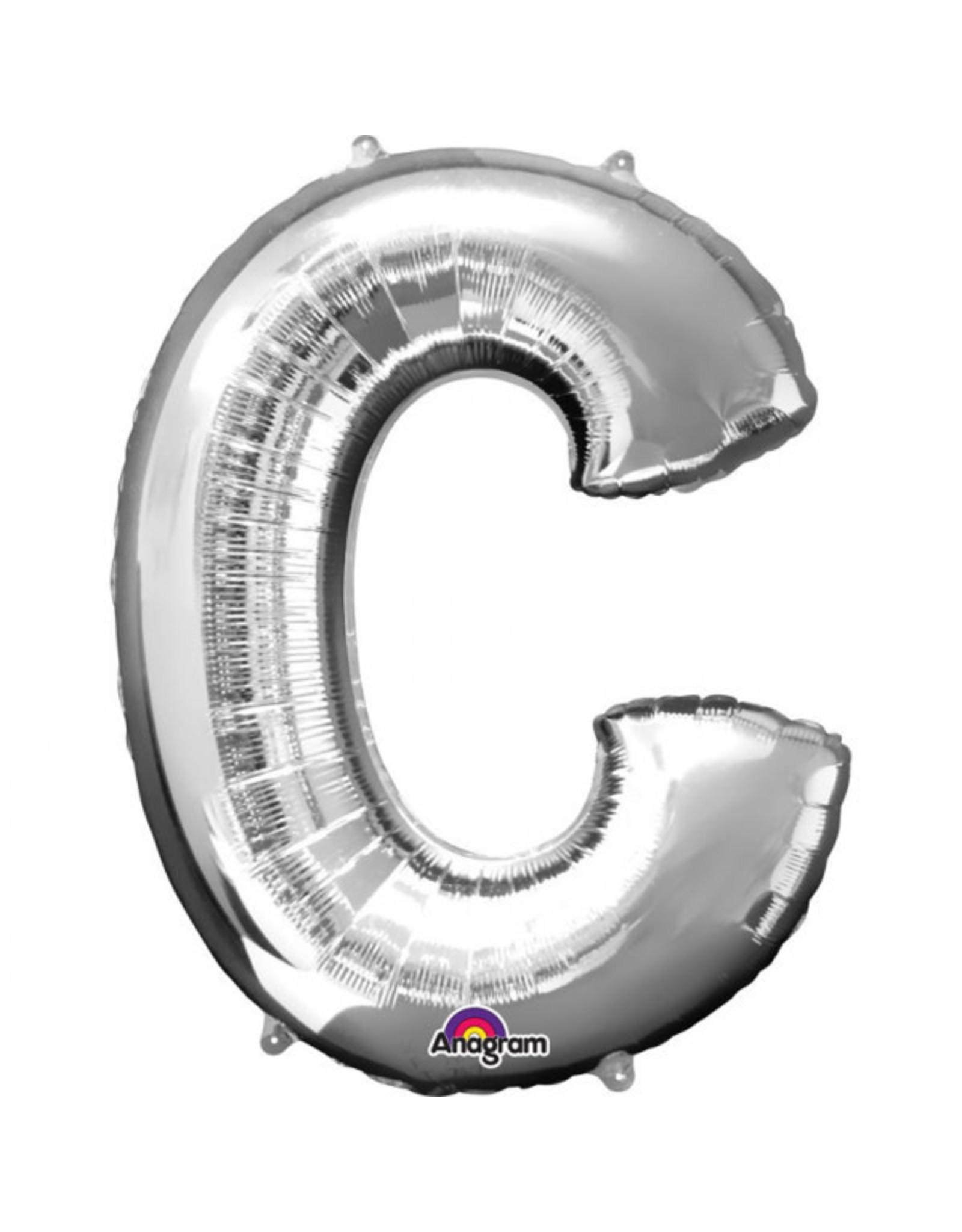 Amscan folieballon zilver letter C 86 cm