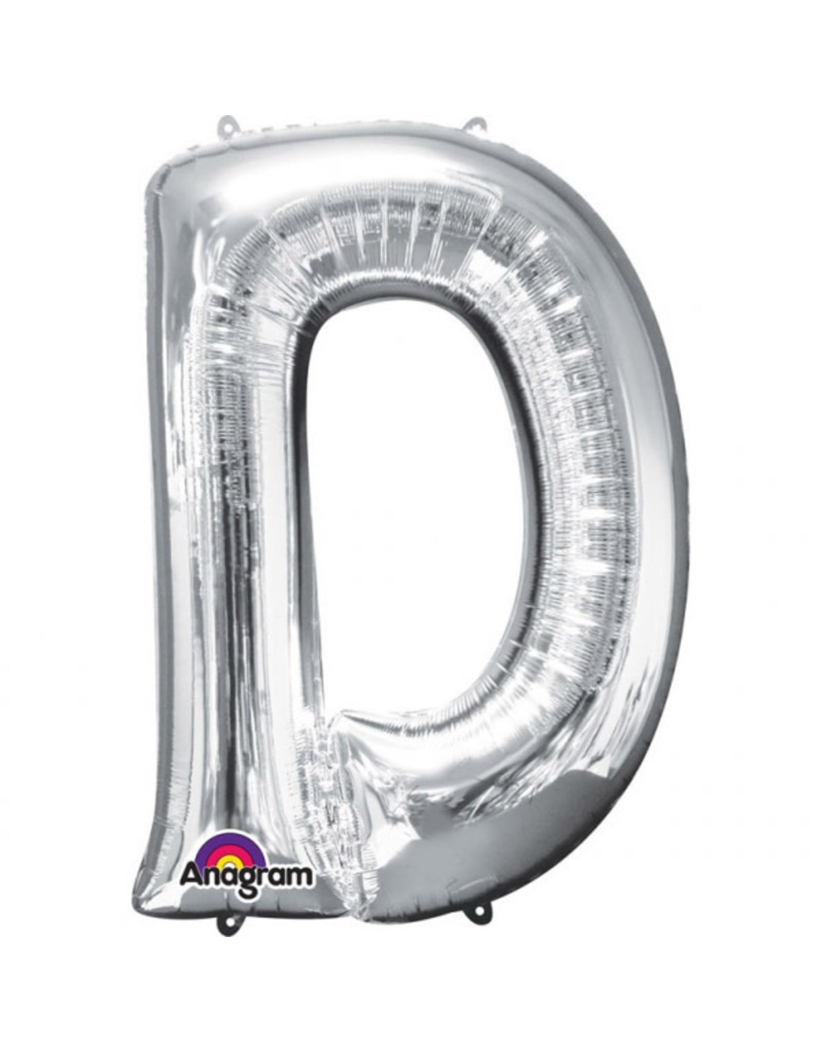 Amscan folieballon zilver letter D 86 cm