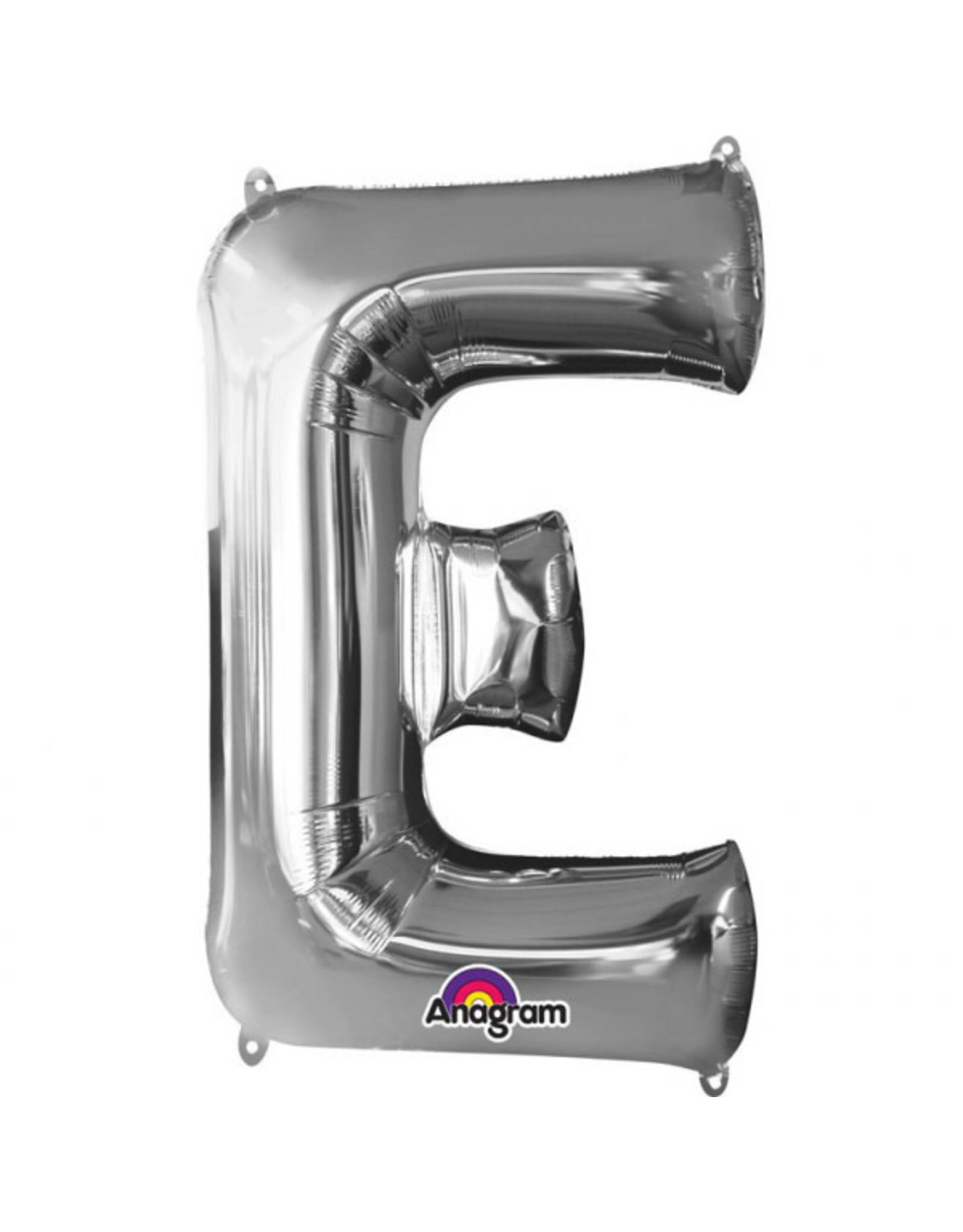Amscan folieballon zilver letter E 86 cm