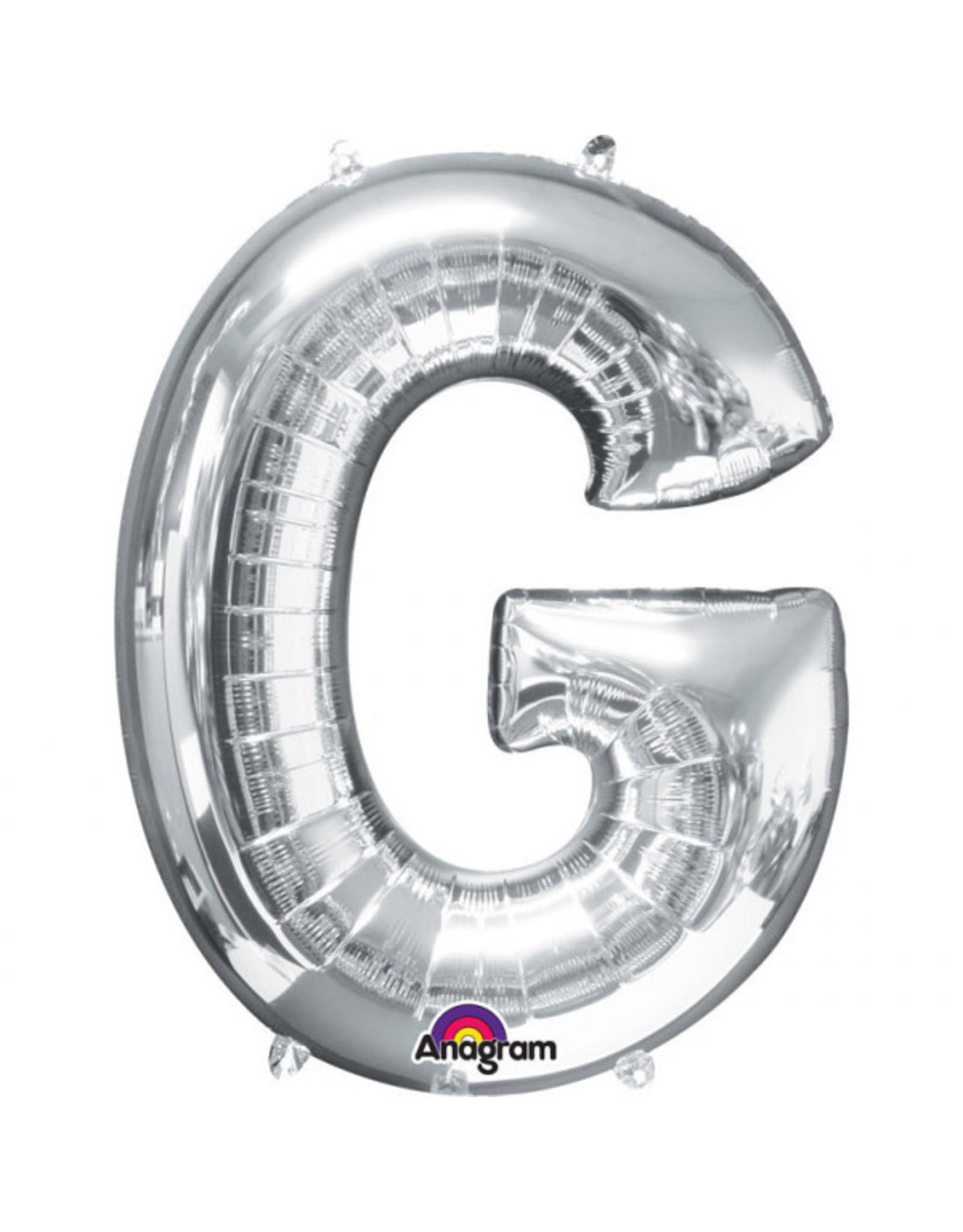 Amscan folieballon zilver letter G 86 cm