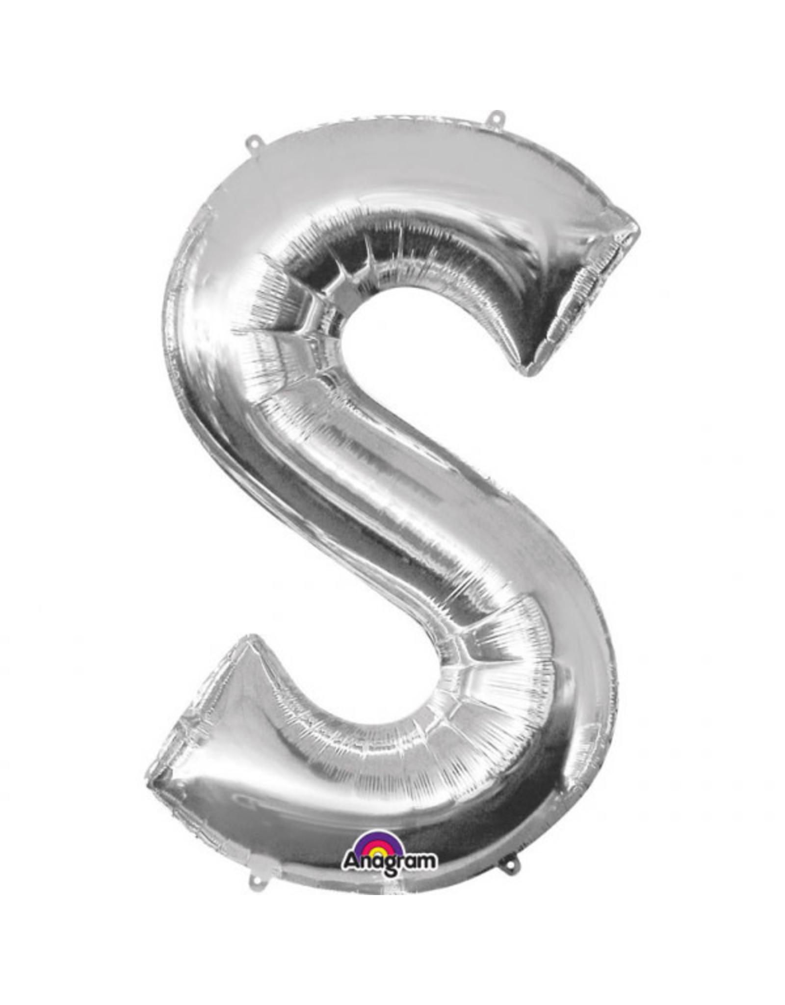 Amscan folieballon zilver letter S 86 cm