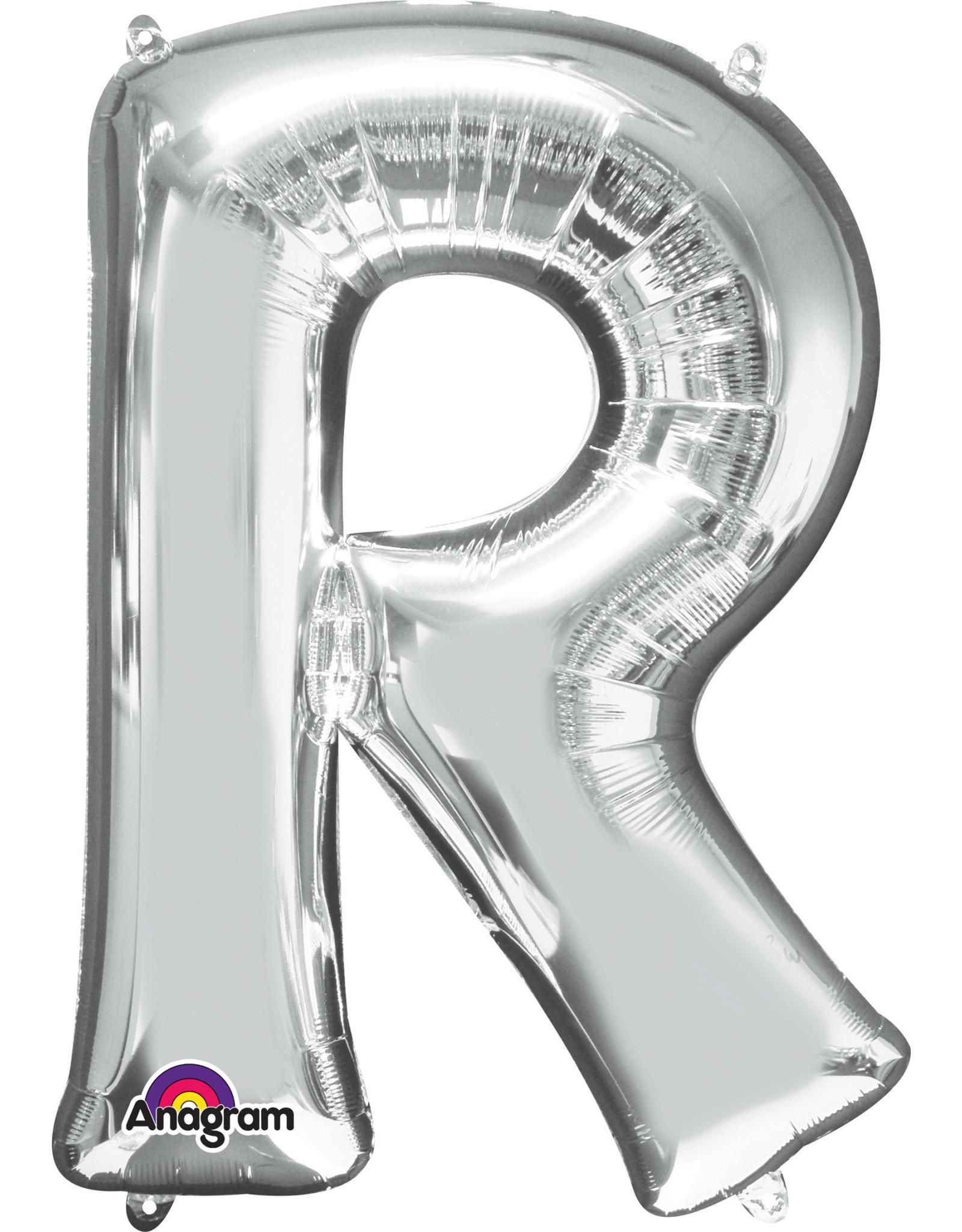 Amscan folieballon zilver letter R 86 cm