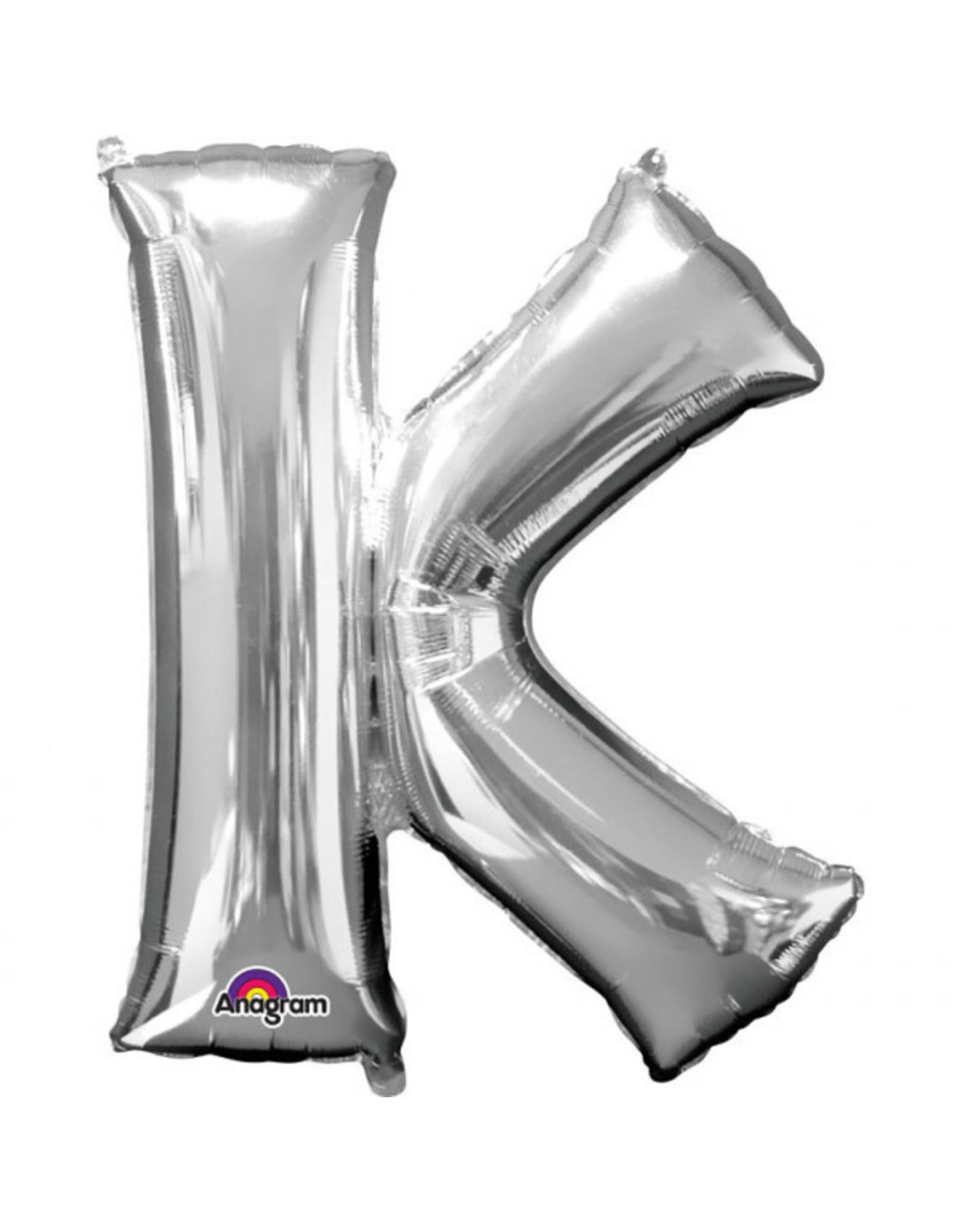 Amscan folieballon zilver letter K 86 cm