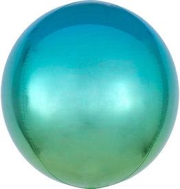 Amscan folieballon orbz blauw/groen 38 x 40 cm
