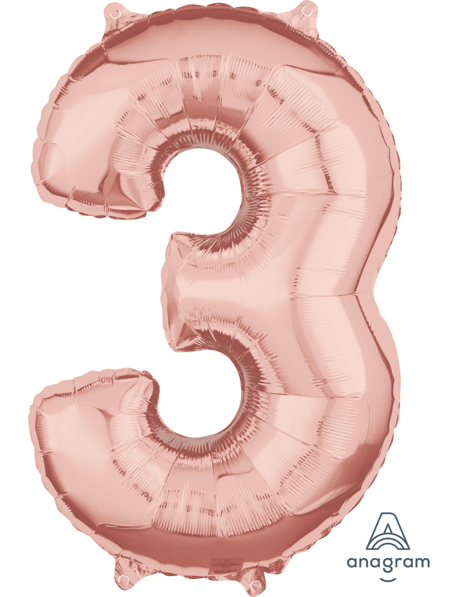 Amscan folieballon rose goud cijfer 3 66 cm