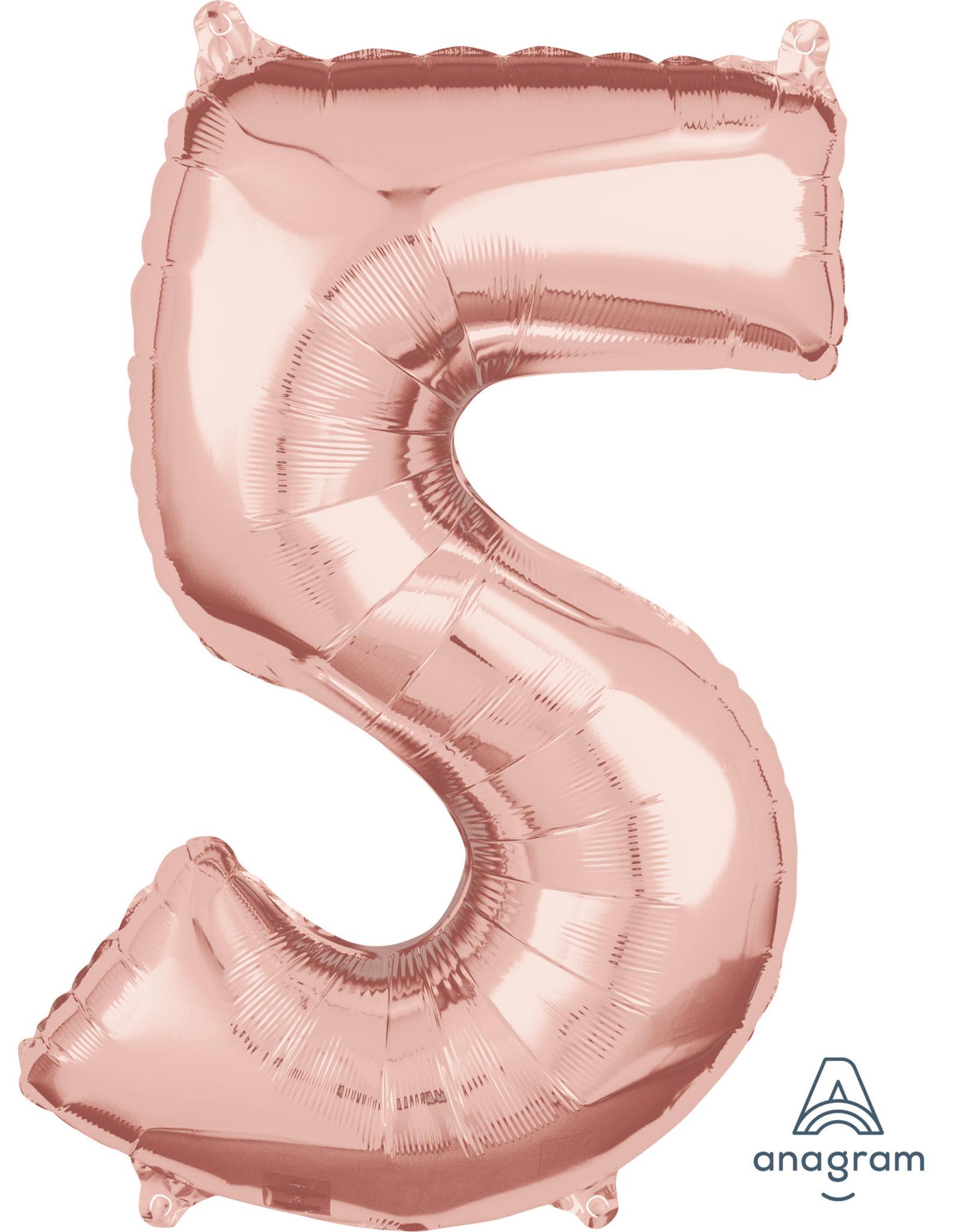 Amscan folieballon rose goud cijfer 5 66 cm