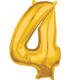 Amscan folieballon goud cijfer 4 66 cm