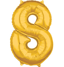 Amscan folieballon goud cijfer 8 66 cm