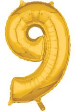 Amscan folieballon goud cijfer 9 66 cm