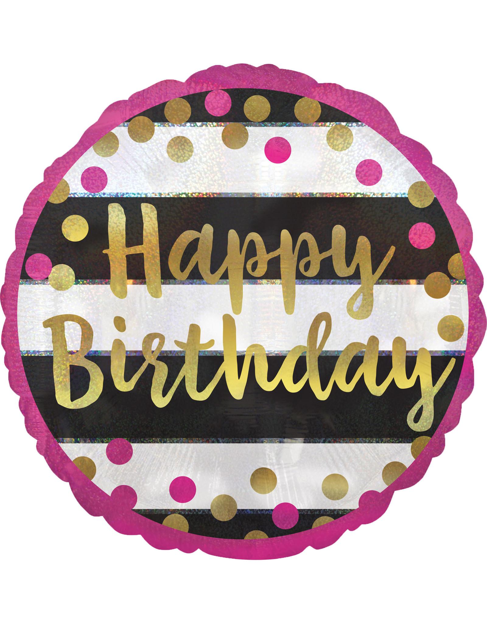 Amscan folieballon pink&gold happy birthday 45 cm