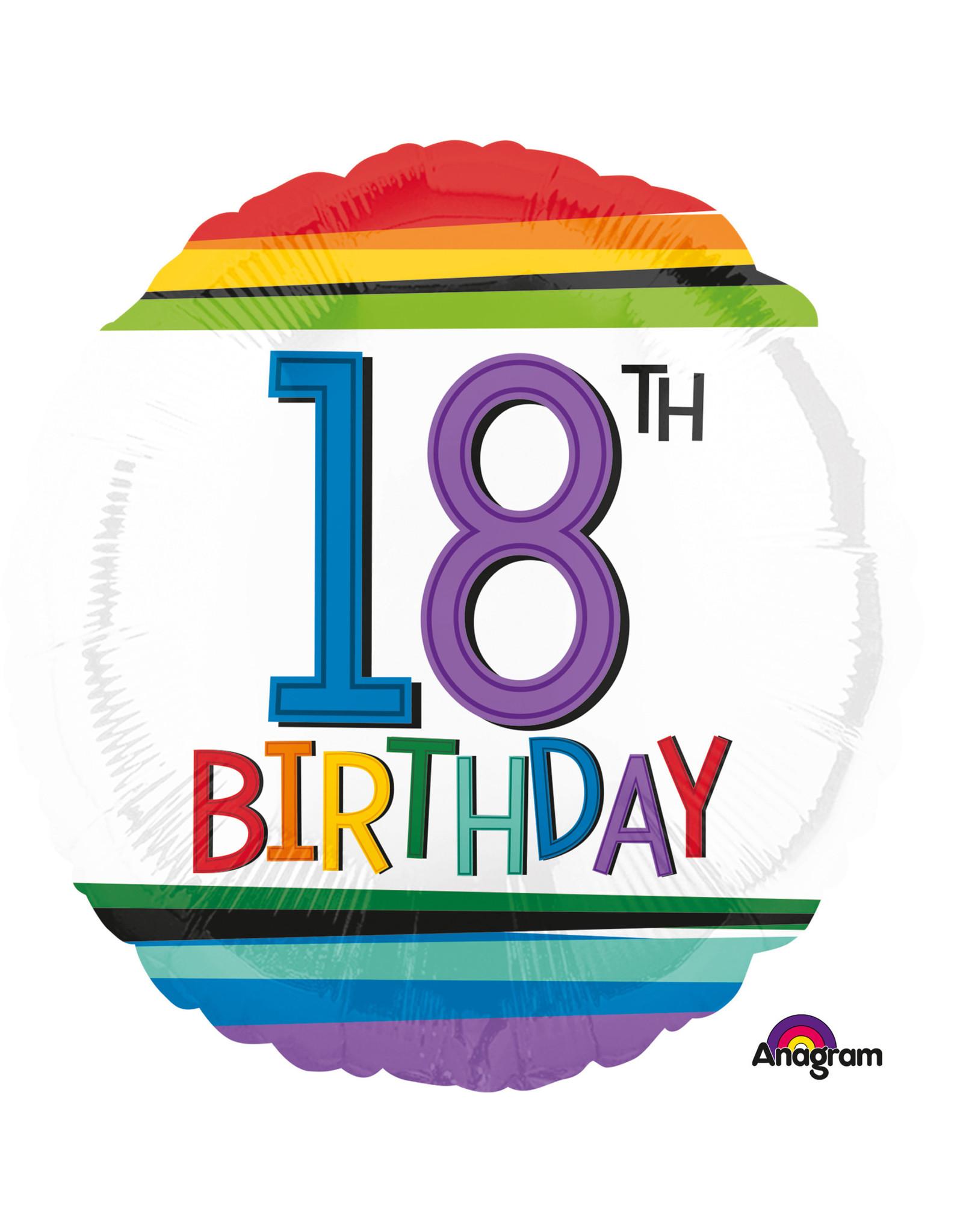 Amscan folieballon Rainbow 18th birthday 43 cm