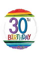Amscan folieballon Rainbow 30th birthday 43 cm
