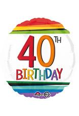 Amscan folieballon Rainbow 40th birthday 43 cm