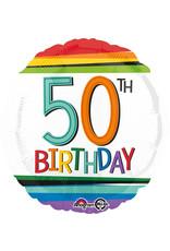 Amscan folieballon rainbow 50th birthday 43 cm