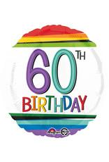 Amscan folieballon rainbow 60th birthday 43 cm
