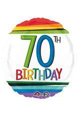 Amscan folieballon rainbow 70th birthday 43 cm