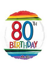 Amscan folieballon rainbow 80th birthday 43 cm