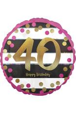 Amscan folieballon pink&gold 40 jaar 43 cm