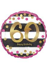 Amscan folieballon pink&gold 60 jaar 45 cm