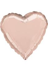 Amscan folieballon rose goud hart 43 cm