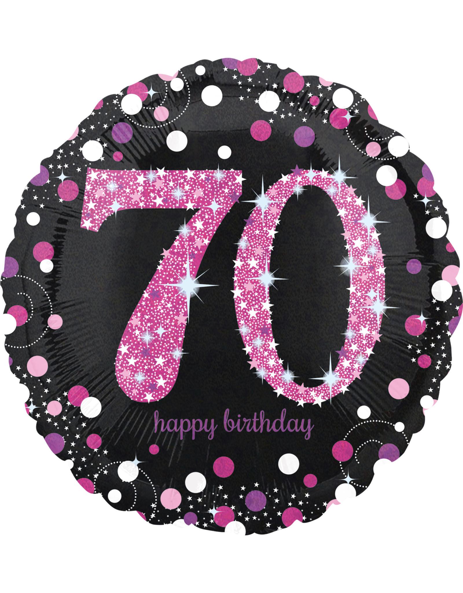 Amscan folieballon sb roze zwart 70 jaar 45 cm