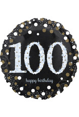 Amscan folieballon sb zilver zwart 100 jaar
