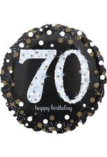 Amscan folieballon sb zilver zwart 70 jaar 45 cm