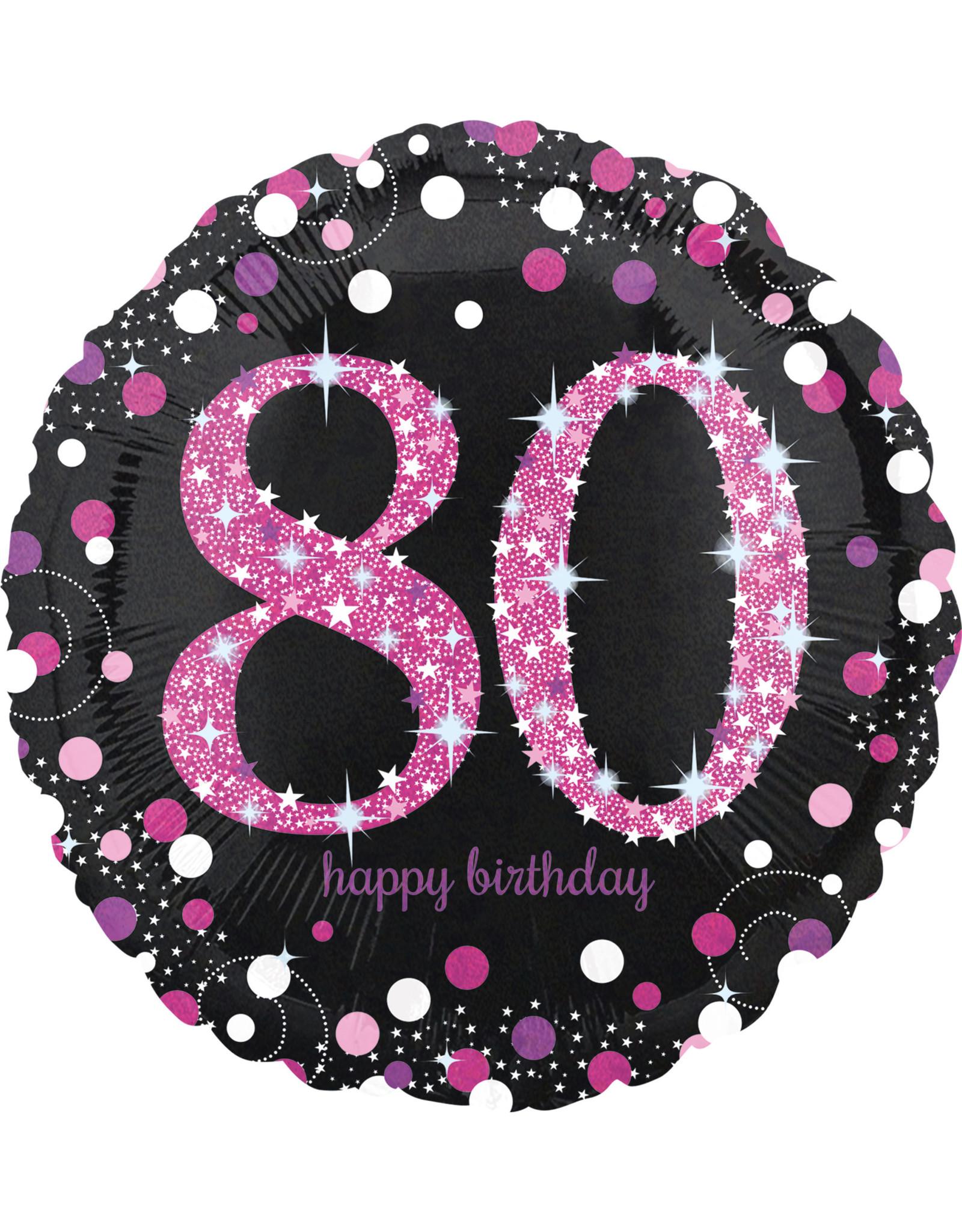Amscan folieballon sb zwart roze 80 jaar