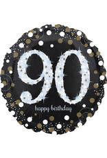Amscan folieballon sb zwart zilver 90 jaar