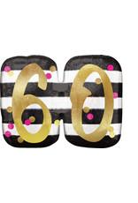 Amscan folieballon supershape pink&gold 60 jaar