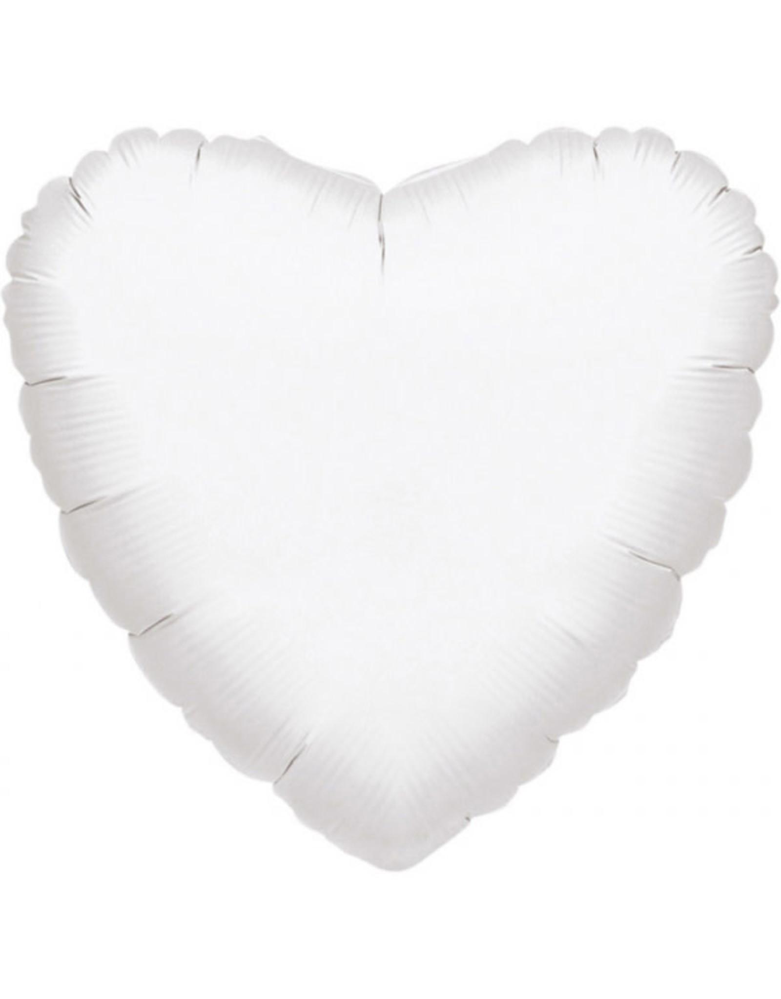 Amscan folieballon wit hart 43 cm