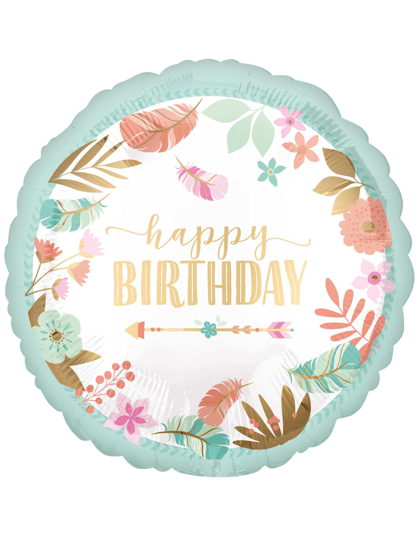 Amscan folieballon Boho happy birthday 45 cm