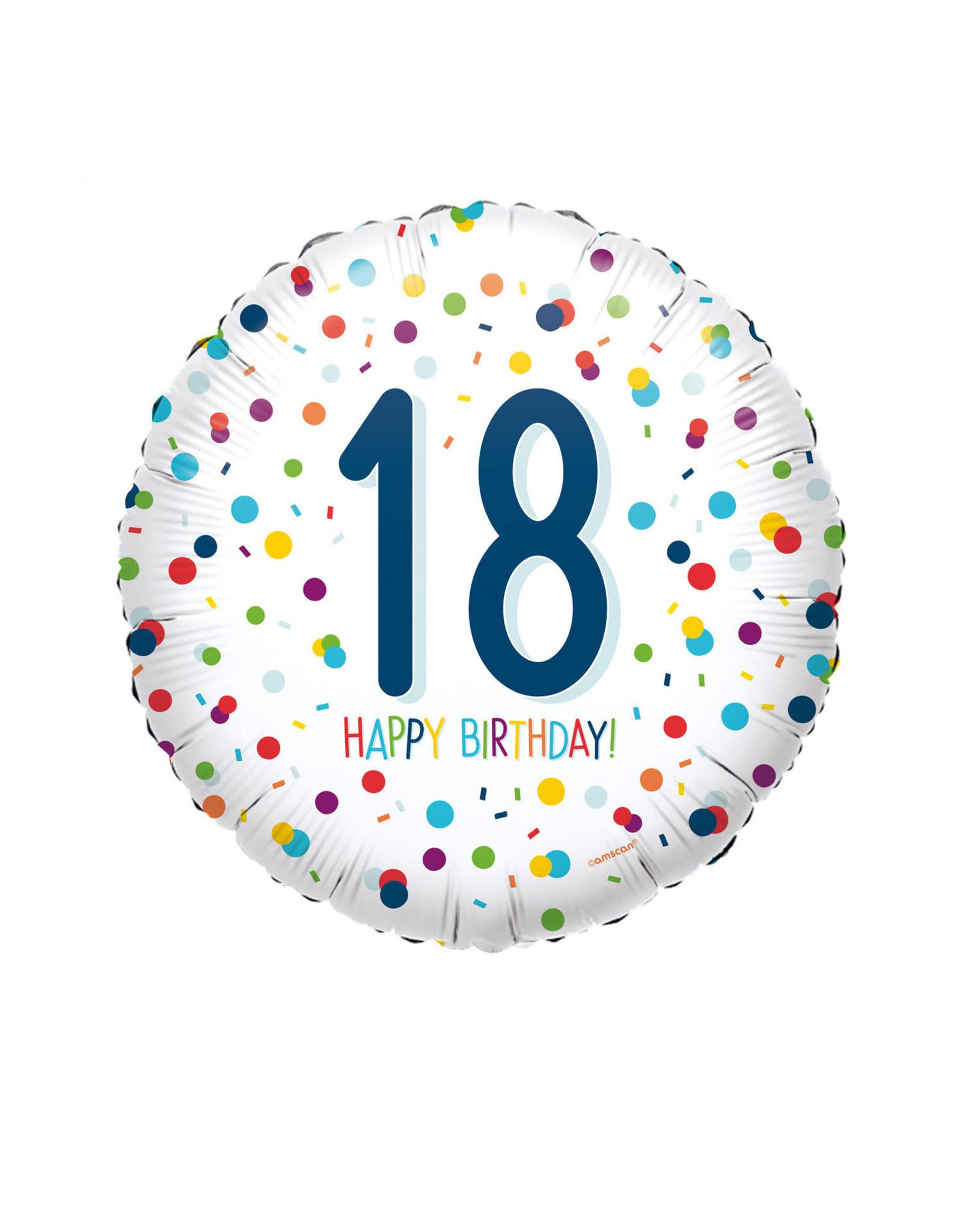 Amscan folieballon confetti 18 jaar 43 cm