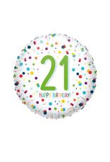 Amscan folieballon confetti 21 jaar 43 cm