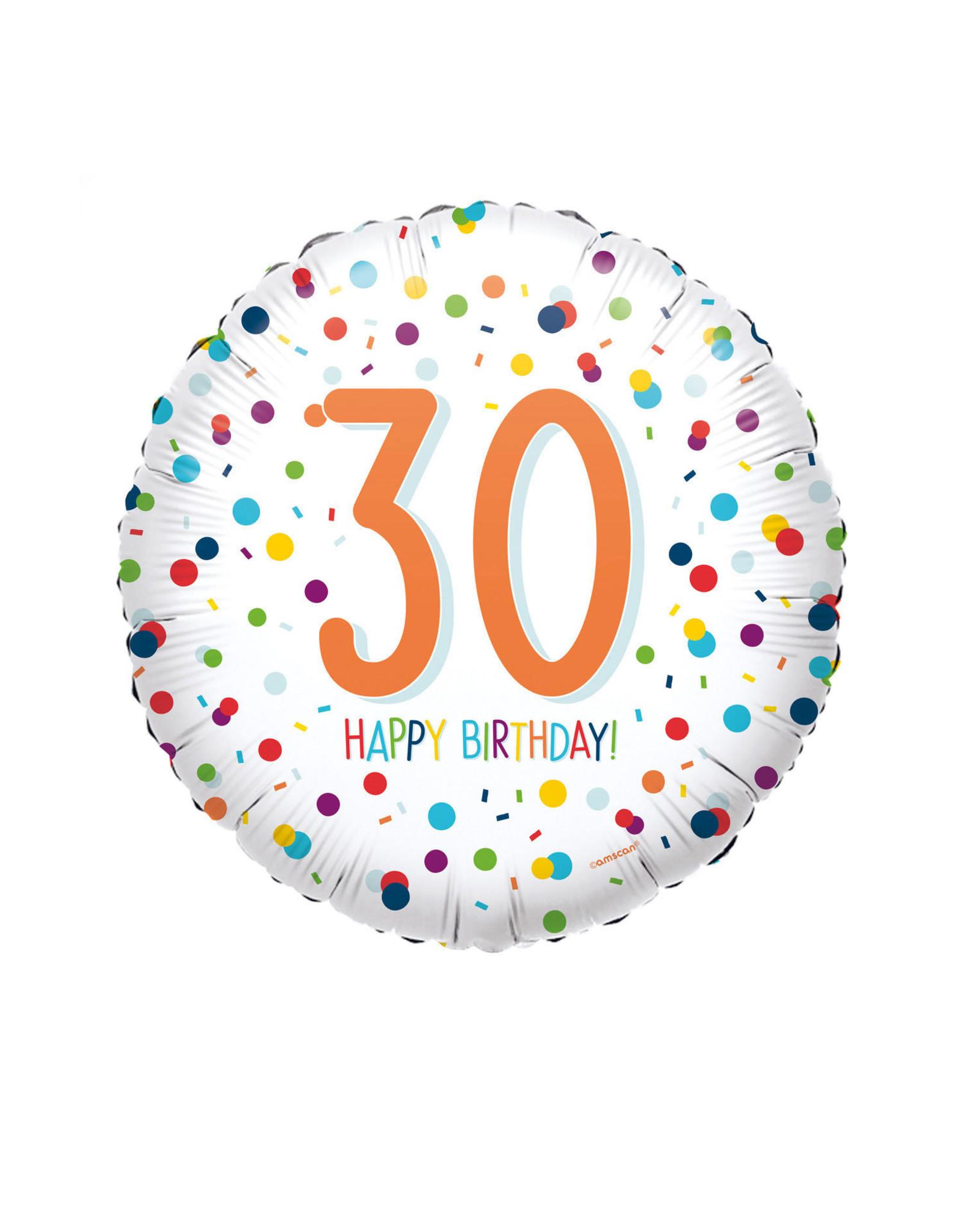 Amscan folieballon confetti 30 jaar 43 cm