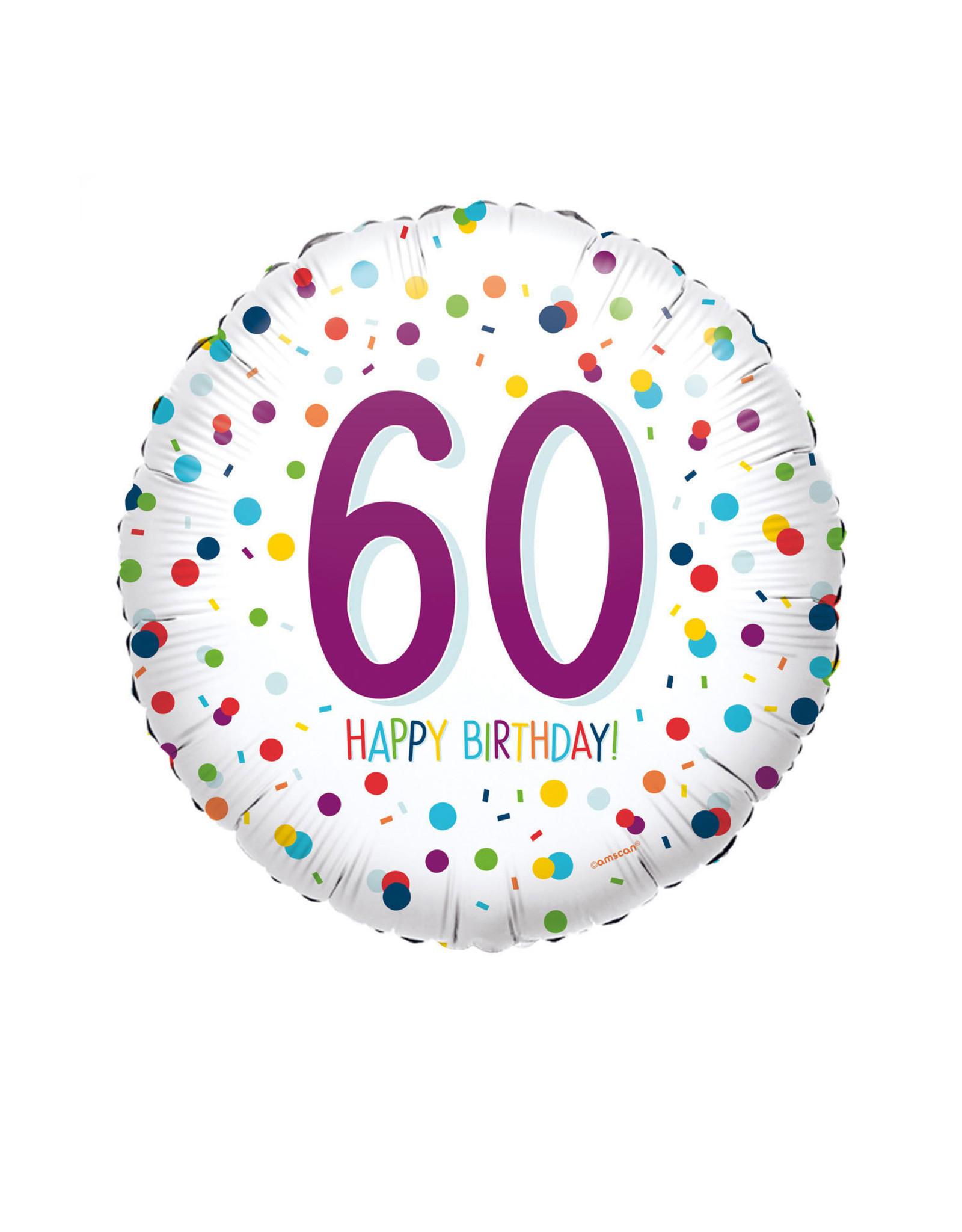Amscan folieballon confetti 60 jaar 43 cm