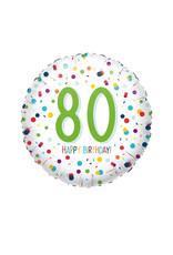 Amscan folieballon confetti 80 jaar 43 cm