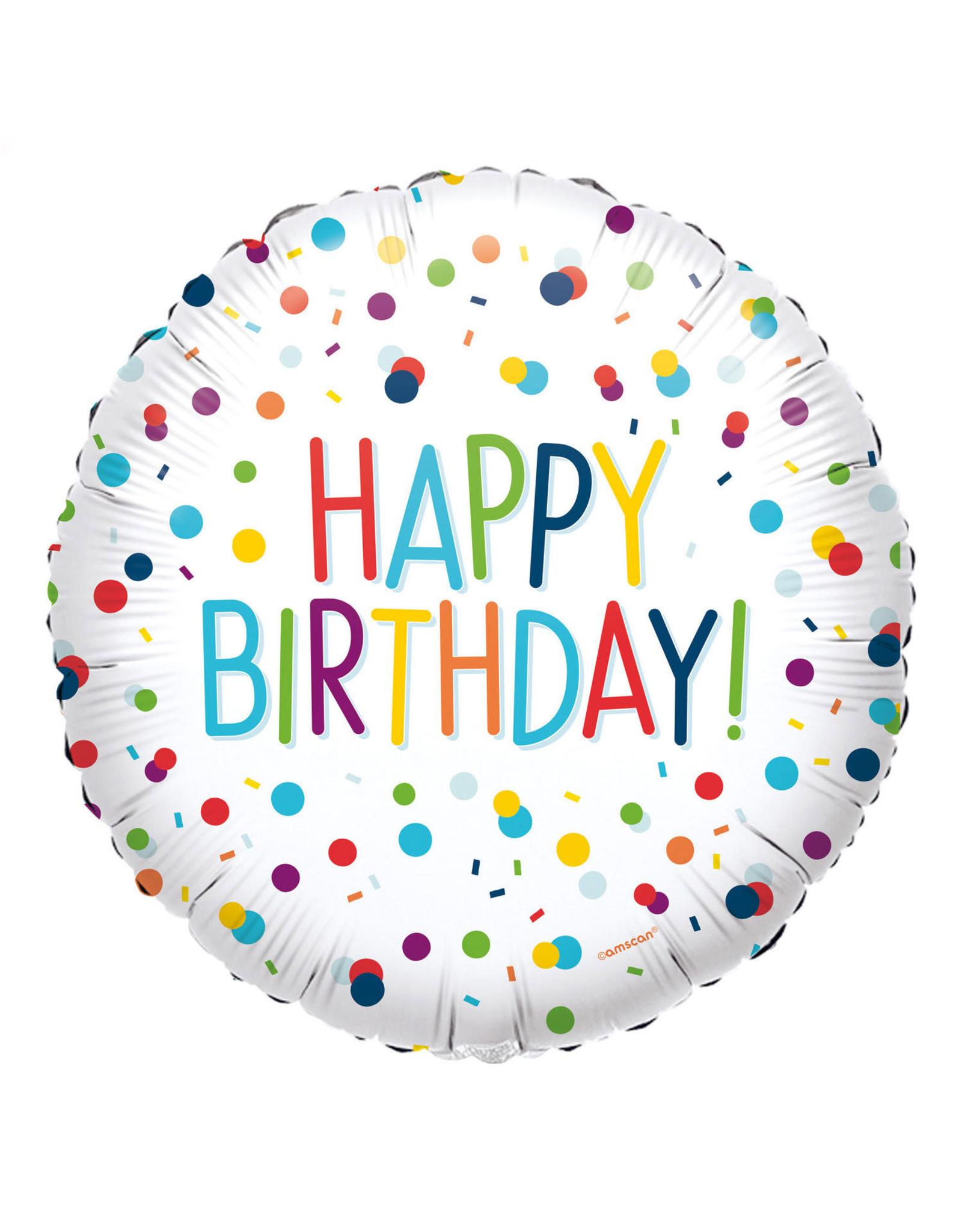 Amscan folieballon confetti happy birthday 43 cm